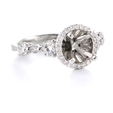 .86ct Diamond 18k White Gold Halo Engagement Ring Setting