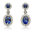 .49ct Diamond and Blue Sapphire 18k White Gold Dangle Earrings
