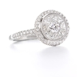 1.35ct Diamond Antique Style 18k White Gold Halo Engagement Ring