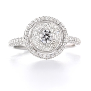 Diamond Antique Style 18k White Gold Engagement Ring