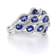 .91ct Diamond and Blue Sapphire 18k White Gold Ring