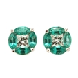 .23ct Diamond and Emerald 18k White Gold Cluster Earrings