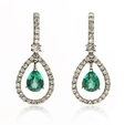 .39ct Diamond and Emerald 18k White Gold Dangle Earrings