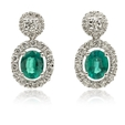 .77ct Diamond and Emerald 18k White Gold Dangle Earrings