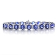 2.47ct Diamond and Blue Sapphire 18k White Gold Bracelet
