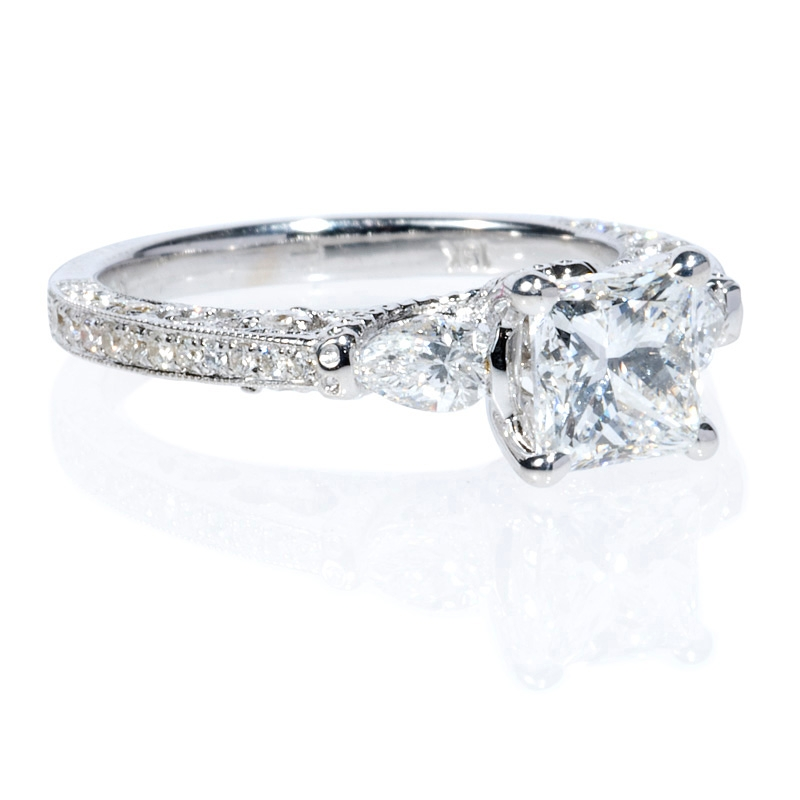 56ct antique style 18k white gold engagement ring