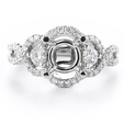 .60ct Diamond 18k White Gold Halo Engagement Ring Setting
