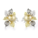 Diamond and South Sea Pearl 18k Two Tone Gold Earrings
