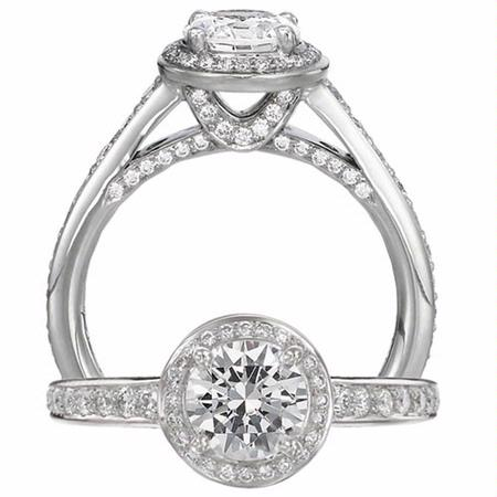 Ritani Endless Love Collection Diamond Platinum Halo Engagement Ring Setting