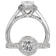 .66ct Ritani Endless Love Collection Diamond Platinum Halo Engagement Ring Setting