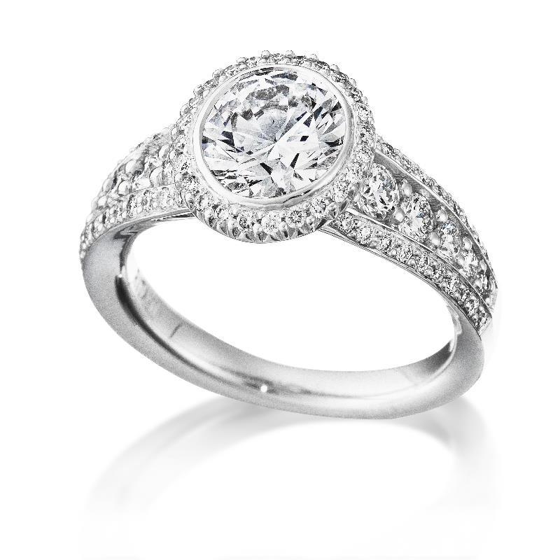 80ct ritani bella vita collection diamond 18k white gold halo engagement ring setting - Wedding Ring Setting