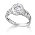 .80ct Ritani Bella Vita Collection Diamond 18k White Gold Halo Engagement Ring Setting