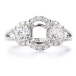 1.19ct Diamond 18k White Gold Halo Engagement Ring Setting