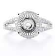.37ct Diamond 18k White Gold Halo Engagement Ring Setting
