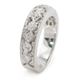 .48ct Diamond Antique Style 18k White Gold Wedding Band Ring