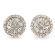 1.29ct Diamond 18k Rose Gold Cluster Earrings