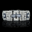 17.72ct Diamond and Blue Sapphire Antique Art Deco Design 18k White Gold Bracelet
