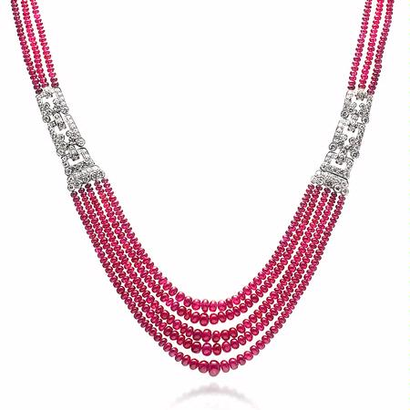Diamond and Natural Ruby Platinum Necklace