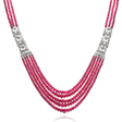 10.41ct Diamond and Natural Ruby Platinum Necklace