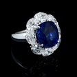 4.79ct Diamond and Ceylon Blue Sapphire 18k White Gold Ring