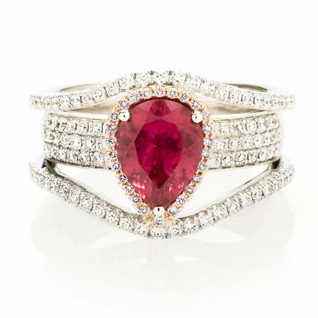 Simon G Diamond & Rubellite 18k Two Tone Gold Ring