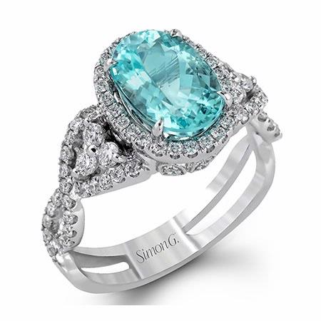 Simon G Diamond & Paraiba Tourmaline Antique Style 18k White Gold Ring
