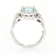 .70ct Simon G Diamond & Paraiba Tourmaline Antique Style 18k White Gold Ring