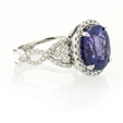 .68ct Simon G Diamond and Tanzanite Antique Style 18k White Gold Ring