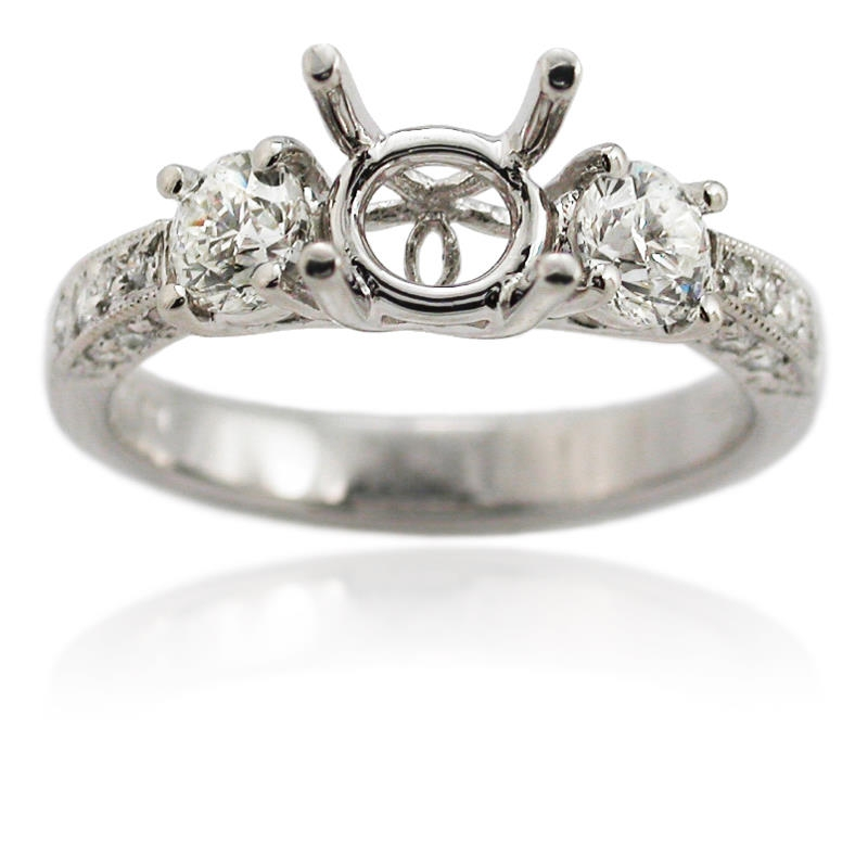 81ct antique style platinum engagement ring mounting