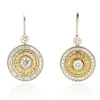 .50ct Simon G Diamond Antique Style 18k Three Tone Gold Dangle Earrings