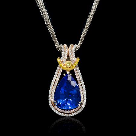 Simon G Diamond and Tanzanite 18k Three Tone Gold Pendant Necklace