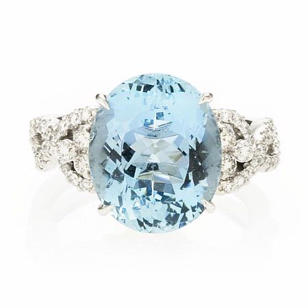 Simon G Diamond and Aquamarine Antique Style 18k White Gold Ring