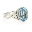 .73ct Simon G Diamond and Aquamarine Antique Style 18k White Gold Ring