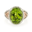 .29ct Simon G Diamond and Peridot 18k Two Tone Gold Ring
