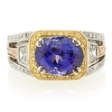 Simon G Diamond and Tanzanite Antique Style 18k Three Tone Gold Ring