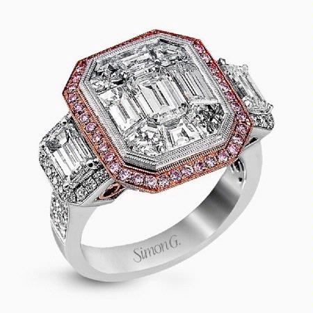 4.81ct Simon G Diamond Antique Style 18k Two Tone Gold Mosaic Engagement Ring