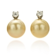 .52ct Diamond and South Sea Pearl 18k Two Tone Gold Earrings