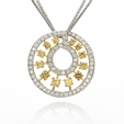 1.99ct Diamond 18k Two Tone Gold Pendant Necklace
