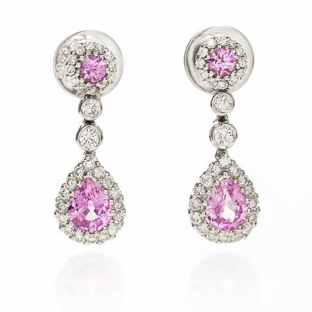 Diamond and Pink Sapphire 18k White Gold Dangle Earrings