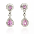 .36ct Diamond and Pink Sapphire 18k White Gold Dangle Earrings