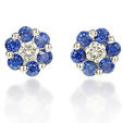 .13ct Diamond and Blue Sapphire 18k White Gold Earrings