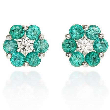 Diamond and Emerald 18k White Gold Flower Earrings