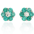 .21ct Diamond and Emerald 18k White Gold Flower Earrings