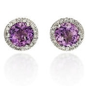 Diamond and Amethyst 14k White Gold Earrings