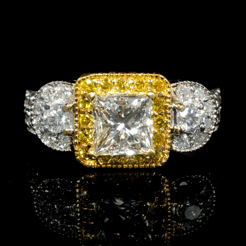 f3f044ae78948 2.13ct Diamond Antique Style 18k Two Tone Gold Engagement Ring