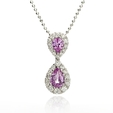 .38ct Diamond and Pink Sapphire 18k White Gold Pendant