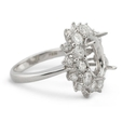2.33ct Diamond 18k White Gold Halo Engagement Ring Mounting