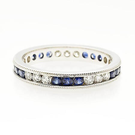41ct Diamond and Blue Sapphire Antique Style 18k White Gold Eternity
