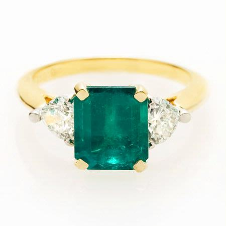 Diamond and Emerald Platinum and 18k Yellow Gold Ring