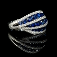 .50ct Diamond and Blue Sapphire 18k White Gold Ring